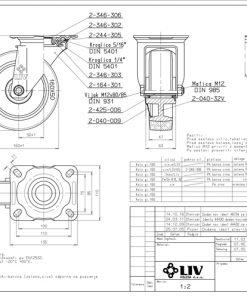 3360 - Liv kotač PA fi 160 mm okretni elastic zelena-300kg,Ferro-pack