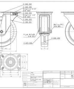 3363 - Liv kotač PA fi 200 mm okretni elastic zelena-300kg,Ferro-pack