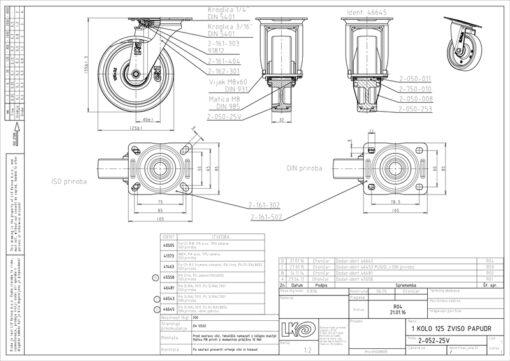 3366+ Liv kotač PA fi 125 mm okretni poliuretan zeleni-200kg,Ferro-pack
