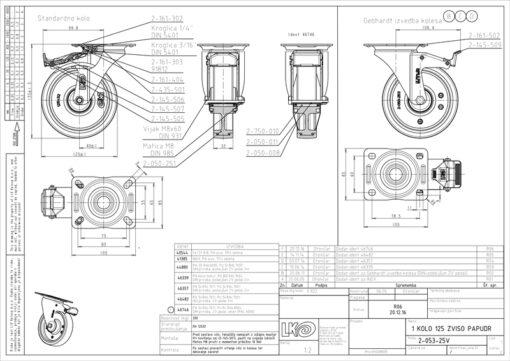 3367+Liv kotač PA fi 125 mm okretni sa kočnicom poliurean zeleni-200kg,Ferro-pack