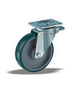 3367 - Liv kotač PA fi 125 mm okretni sa kočnicom poliurean zeleni-200kg,Ferro-pack