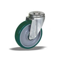 3368 - Liv kotač sa rupom M12 PA fi 125 mm okretni poliuretan zeleni -200kg,Ferro-pack
