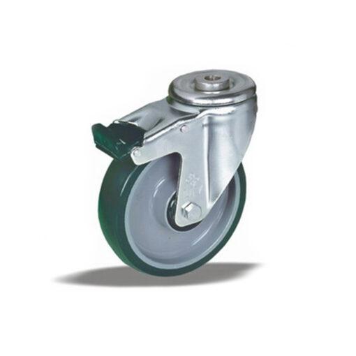 3369 - Liv kotač sa rupom M12 PA fi 125 mm okretni sa kočnicom poliuretan zeleni-200kg,Ferro-pack