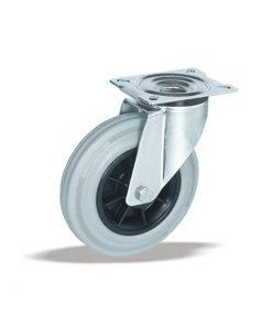 3371 - LIV kotač PP okretni fi 80 mm siva guma -INOX 65-kg,Ferro-pack