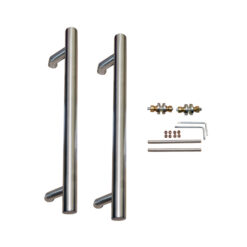 8564 - INOX ručka za vrata fi 25 mm, l - 350 mm, rupe na 150 mm, sa kompletom vijaka, par,Ferro-pack