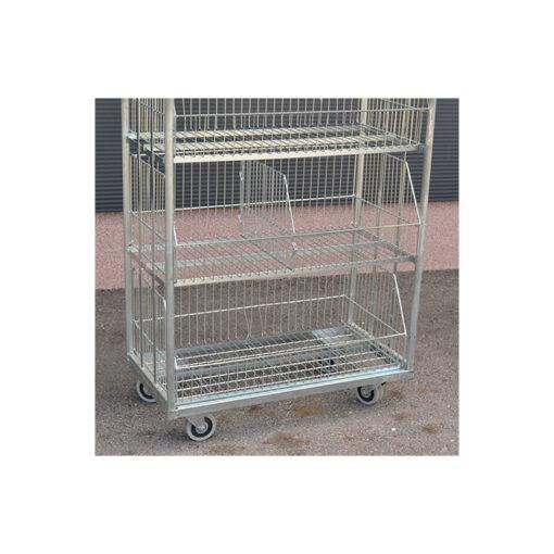 TO615 + Kontejner za transport robe sa kotačima - pocinčani, 42 x 90 cm, h-165 cm, P + 3 ,Ferro-pack