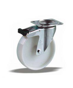 2120 - LIV bijeli PVC kotač okretni sa kočnicom fi 100 mm ,Ferro-pack