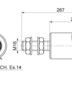 Bočni PVC - nylon kotač za kliznu kapiju, fi 44 x 220 mm, bijeli tehnicki crtez