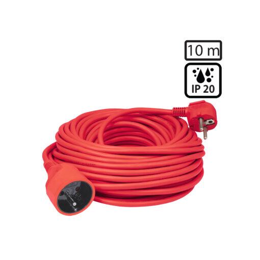 Produžni strujni kabel 1 utičnica, 10 met, crveni