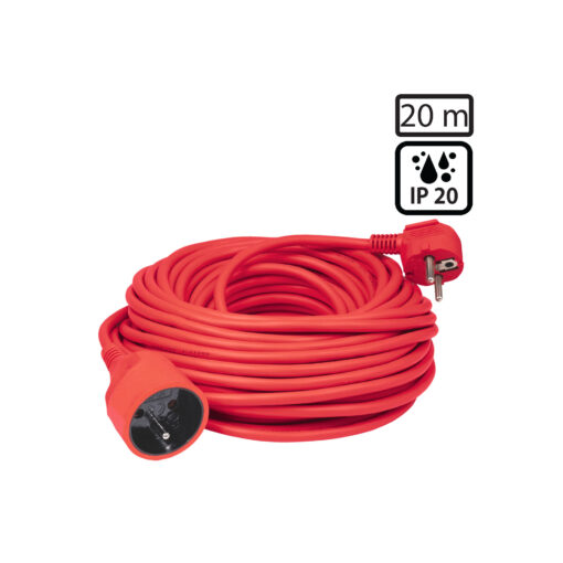 Produžni strujni kabel 1 utičnica, 20 met, crveni