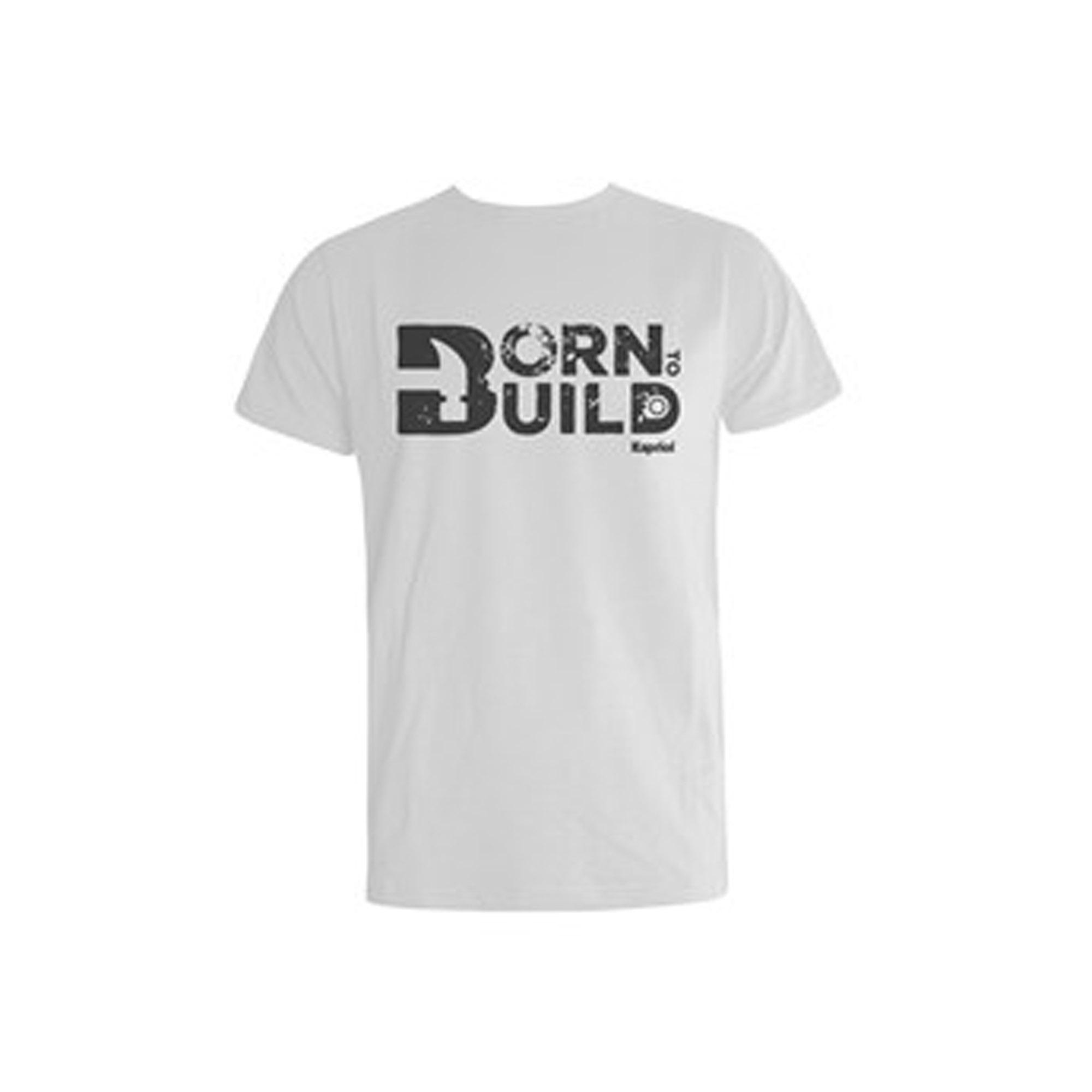 T-majica BORN to build , bijela