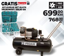 Kompresor PROAIR VC 400/100, 230V + MAKITA set alata 227 dij.