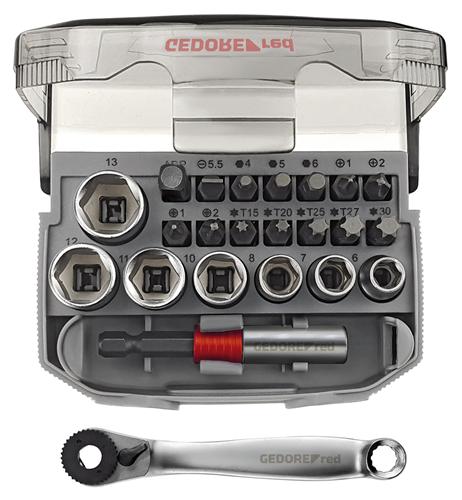 """M9253 GEDORE set nasadnih ključeva 1/4"""" 6-13 mm + bitovi, 23 kom"""